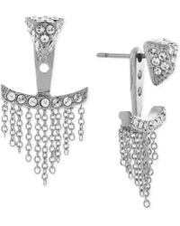 Vince Camuto - Silver-tone Pave Triangle And Chain Fringe Ear Jackets - Lyst