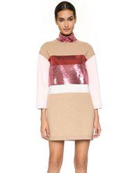 Giambattista Valli Long Sleeve Dress - Camel/pink - Lyst