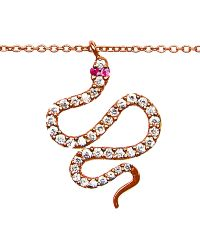Diane Kordas Snake Necklace in 18k Rose Gold Diamond and Pink Sapphire - Lyst