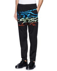 Tim Coppens Blur Neon Print Cotton Jogging Pants black - Lyst