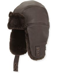 UGG - Corbett Leather Trapper Hat - Lyst