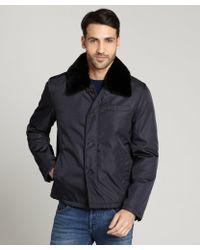 Prada Blue Fur Collar Nylon Activewear Coat - Lyst