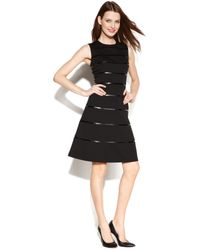 Calvin Klein Sleeveless Fauxleather Striped Dress - Lyst