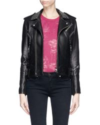 IRO 'Wenda' Stud Leather Biker Jacket - Lyst