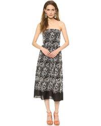Tibi Strapless Dress Bisque Multi - Lyst