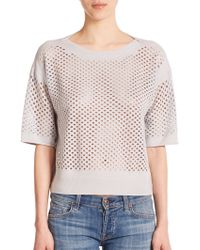 Rebecca Taylor Perforated Short-Sleeve Top gray - Lyst