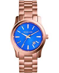 Michael Kors Women'S Runway Rose Gold-Tone Stainless Steel Bracelet Watch 38Mm Mk5913 - Lyst