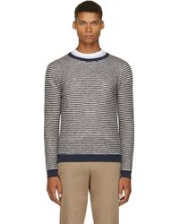 Band Of Outsiders Navy and White Striped Knit Sweater - Lyst