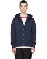 Nigel Cabourn - Navy Terry Hooded Cardigan - Lyst