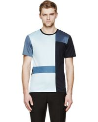 Burberry London Blue Colorblocked T_Shirt - Lyst