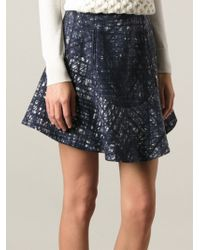 Carven High Waisted Printed Skirt - Lyst