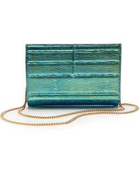 Elie Saab Small Metallicized Chain Wallet in Capri Blue - Lyst
