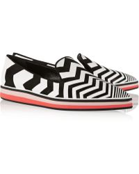 Nicholas Kirkwood Chevron-Print Suede And Leather Point-Toe Flats - Lyst