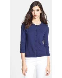 Kate Spade 'Somerset' Cotton Blend Cardigan blue - Lyst