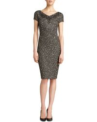 St. John Gilded Shantung Knit Dress - Lyst