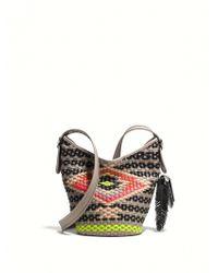 Coach Mini Multicolor Woven Crossbody Bag white - Lyst