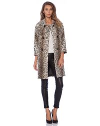 Milly Alexis Animal Print Faux Fur Coat - Lyst