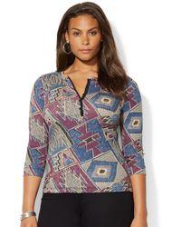 Lauren by Ralph Lauren Plus Size Go-print Henley Top - Lyst