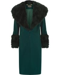 House of Holland Green Fur Collar Coat - Lyst