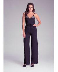 Bebe Black Embroidered Jumpsuit - Lyst