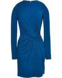 Elie Saab Blue Jersey Twisted Knot Mini Dress - Lyst
