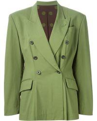 Jean Paul Gaultier Double Breasted Blazer green - Lyst