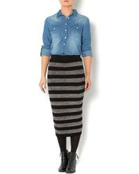 Linea Weekend - Brush Stripe Midi Skirt - Lyst