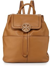 Tory Burch Amanda Medium Leather Backpack Royal Tan - Lyst
