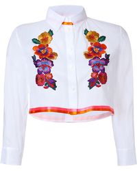 Alberta Ferretti Embroidered Cropped Cotton Blouse - Lyst