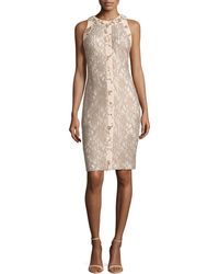 Badgley Mischka Collection Sleeveless Lace Dress With Bead Panel - Lyst