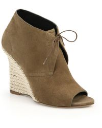 Burberry Espadrille-Wedge Open-Toe Suede Booties - Lyst