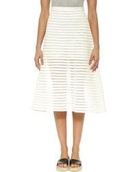 Cynthia Rowley Denim Mesh Midi Skirt - White - Lyst