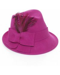 Helene Berman Feather Bow Trilby - Lyst