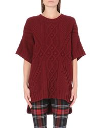 Jean Paul Gaultier Cableknit Notchedhem Jumper Red - Lyst