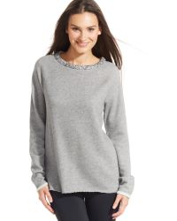 Calvin Klein Performance Heathered Embellished-neck Top - Lyst