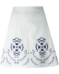 Tory Burch High Waisted A-Line Skirt - Lyst