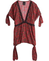 Anna Sui Printed Tunic Top red - Lyst