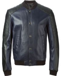 Versace Panelled Bomber Jacket blue - Lyst