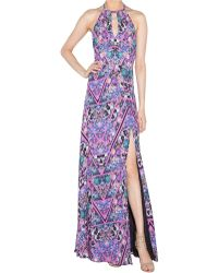 Nicole Miller Keyhole Halter Gown - Lyst