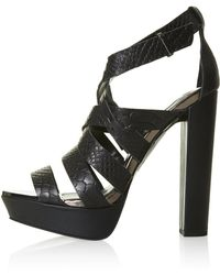 Topshop Lucky Snake Platform Sandals - Lyst