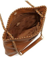 Tory Burch Marion Leather Book Bag Royal Tan - Lyst