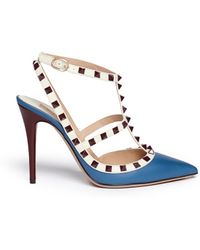 Valentino 'Rockstud' Caged Leather Pumps blue - Lyst