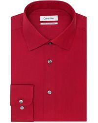 Calvin Klein Red Clay Tonal Striped Dress Shirt - Lyst