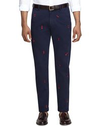 Brooks Brothers Embroidered Chess Chinos - Lyst