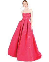 Oscar de la Renta Sweetheart Embroidered Gown - Lyst