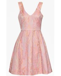 French Connection Mimi Moire Flared Dress pink - Lyst