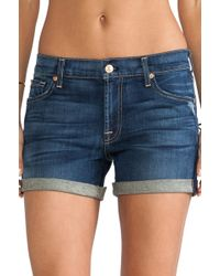 7 For All Mankind Mid Roll Up Short - Lyst