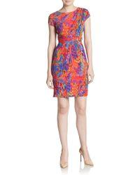 Ellen Tracy Abstract-Print Wrap Waist Sheath Dress - Lyst