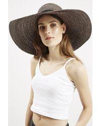 Topshop Premium Straw Floppy Hat gray - Lyst