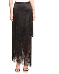 Tamara Mellon Silk Fringe Maxi Skirt - Lyst